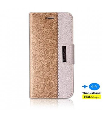 Iphone 6 Plus Case; Thankscase Iphone 6 Plus Wallet Case Smart Cover with a Bonus Screen Protector, with the Great Pattern for Iphone 6 Plus 5.5 Inch .(Gold)