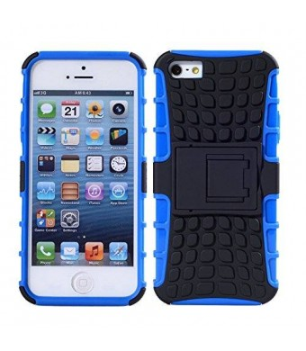 Iphone 5s Case, 2 in 1 Dual Layers Heavy Duty Hard Soft Hybrid Rugged Protective Case with Foldable Kickstand for Apple Iphone 5 / 5s (Blue/Black)