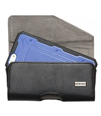 """Rebono black leather belt clip holster pouch fits for iphone 6, 4.7"""" with slim skin cover, fits maxboost,spigen,speck,incipio and more"""