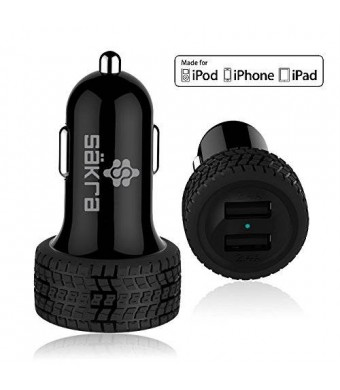 Mini High Power Dual Port USB Car Charger Säkra 4.8A 24W [ BLACK ] - MFi Apple Certified w