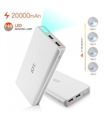 GJT 20000mAh Power Bank 4 LED Light Backup External Battery Portable Charger Dual USB Port for Apple iPhone 6