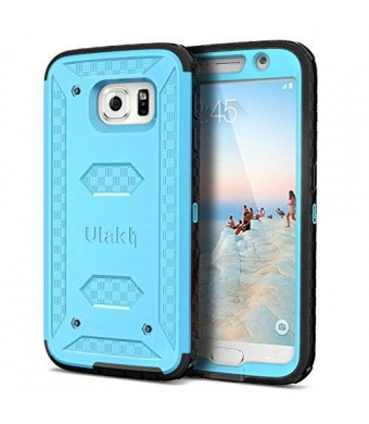 ULAK [KNOX ARMOR] Dual Layer Hybrid Full-body Rugged Case with Built-in Screen Protector Impact Resistant Bumper for Samsung Galaxy S6 S VI (Blue)