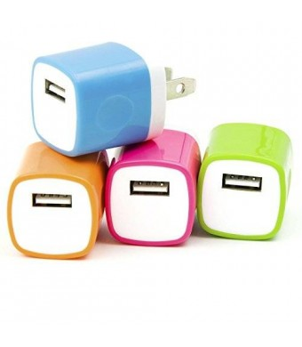 4PCS LOT 2 Two-Tone USB AC Universal Power Home Wall Travel Charger Adapter for iPhone 6 6 PLUS / 5 5S 5C /4 4S Samsung HTC w/ Easy Edge Grip Design