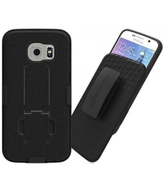 Galaxy S6 Belt Clip Case : Stalion Secure Holster Shell and Kickstand Combo