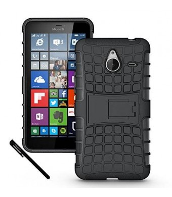 Microsoft Nokia Lumia 640 XL Case Cover Accessories - Tough Rugged Dual Layer Protective Case with Kickstand for Microsoft Lumia 640 XL (Black).