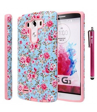 LG G3 Case, LG G3 Flower Case - Style4U Slim Fit Dual Layer Hybrid Armor Protective Case Cover for LG G3 with 1 Stylus [Flowr Pink]