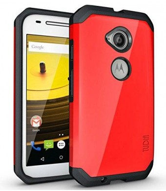 TUDIA Slim-Fit CYGEN Dual Layer Protective Case for Motorola Moto E (2nd Generation, 2015) (Red)