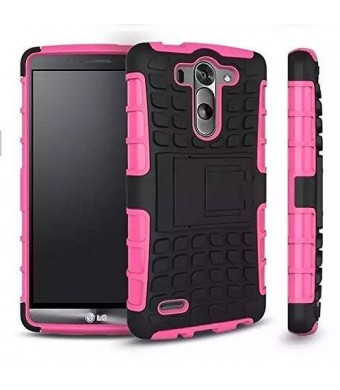 LG G4 Case, Cable and Case, LG G4 Armor Heavy Duty Rugged Dual Layer Armor Case with Kickstand (LG G4 Pink) (Pink)