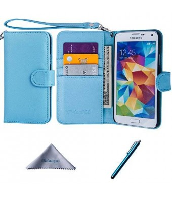 S5 Case, Wisdompro Premium PU Leather 2-in-1 Protective Flip Wallet Case with Credit Card Holder/Slots and Wrist Lanyard for Samsung Galaxy S5 - Blue
