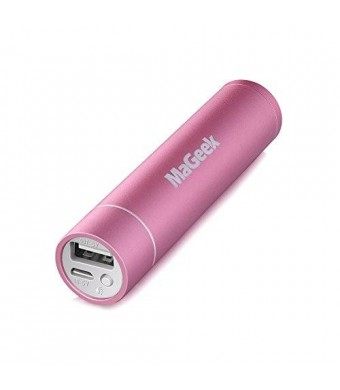 MaGeek Atom1 3200mAh Lipstick-Sized Portable Charger External Battery Power Bank with UniCharge Technology for iPhone, Samsung, and More (Pink)