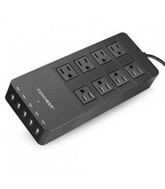 Coocheer Home/office Power Strip with 5-port USB and 8-outlet Surge Protector for Smartphone, Tablet ,Laptop and More-black