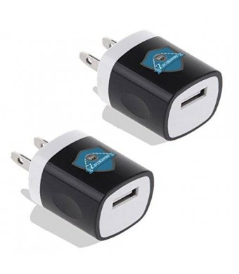 Zecurewire(TM) 2 Pcs High Quality USB Ac Universal Power Home Wall Travel Charger Adapter Compatible for Iphone 6/6 Plus