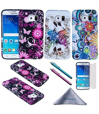 S6 Case, Wisdompro 3 Pack Bundle of Color and Graphic Soft TPU Gel Protective Case Covers for Samsung Galaxy S6 (Flower Butterfly Pattern)