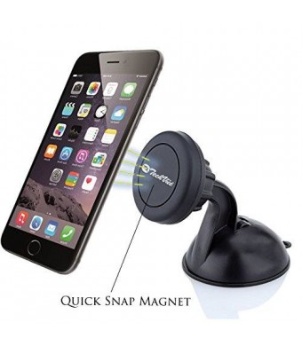 iTechVüe *Lifetime Warranty* Universal Car Cell Phone Holder - Magnetic Cell Phone Mount with Suction Cup
