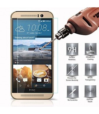 [HTC One M9 Screen Protector] PLESON Tempered Glass HD Clear Screen Protector Guard Film for HTC One M9