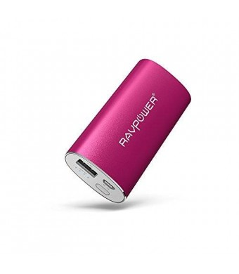 RAVPower Portable Charger 6700mAh (2.4A Output and 2A Input) External Battery Pack iSmart Technology for Smartphones Tablets and more - Pink