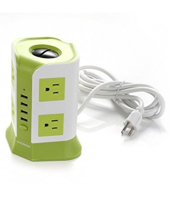 SAFEMORE Smart 8-Outlet with 4-USB Output Surge Protection Power Strip (Green and White)