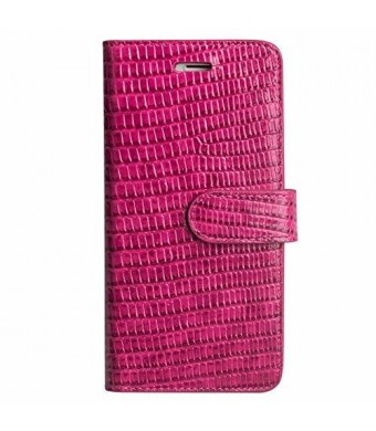 Dragonz TUFFskinz iPhone 6s / iPhone 6 Leather Case (Pink Crocodile Print Genuine Leather Wallet Case)