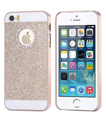 5s Case, Iphone 5 Case -Floveme 3D Handmade Shiny Bling PC Case with Crystal Sparkly Diamonds and Rhinestones Design for Iphone 5 5s (Golden)
