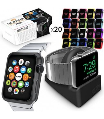Orzly SIL20IN1 Nightstand and 20 Assorted Face Plates for Apple Watch (42mm)