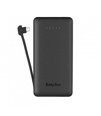 EasyAcc 6000mAh Ultra-Slim External Battery Smart Output Power Bank Portable Charger with Built-in Micro USB Cable for Smartphone - Black