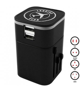 Landing Gear World Travel Adapter USB Charger Universal All-In-One Plug Dual 3.2A USB Ports (Black)