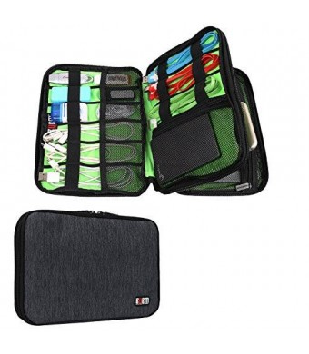 BUBM Universal Double Layer Travel Gear Organizer / Electronics Accessories Bag / Battery Charger Case (Black)