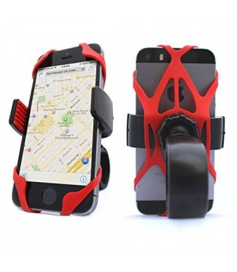 Vibrelli Universal Bike Phone Mount Holder. Bicycle Handlebar (and Motorcycle) Cell Phone Cradle Adjustable to Fit Any Smart Phone (iPhone