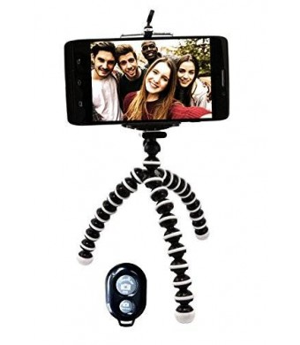 Flexible Tripod Stand with Bluetooth Remote for iPhone Android Galaxy Samsung Smartphone and Camera Best Quality Compact Lightweight Mini Inexpensive
