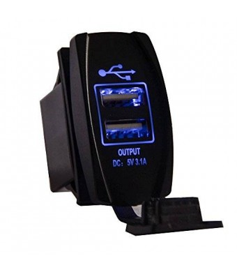 Mictuning Universal Rocker Style Car USB Charger - with Blue LED Light Dual USB Power Socket for Rocker Switch Panel