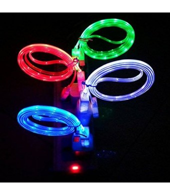 LAAGIE 4 pcs Glow in the Dark Light-up LED USB Data Sync Charger Cable Charging Cord for Iphone 5 5s 6 6 Plus