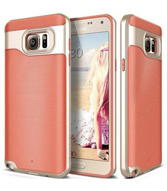 Galaxy Note 5 case, Caseology [Wavelength Series] [Coral Pink] Textured Pattern Grip Cover [Shock Proof] for Samsung Galaxy Note 5