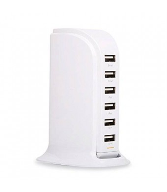 Lottogo 40W 8A 6 Port USB Tower charger Desktop USB Charger Travel Power Adapter for iPhone,iPad,Samsung,Sony And other devices(white)