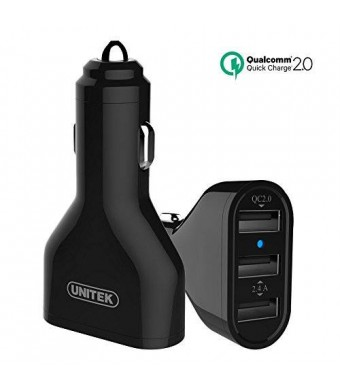 [Qualcomm Certified] UNITEK Quick Charge 2.0 42W 3-Port USB Car Charger Adapter for Apple iPad Air mini
