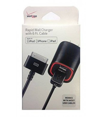 Verizon MFI Apple Certified 2.1 AMP Rapid Power Wall Charger For Apple iPhone 4 / 4S