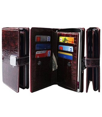 Sapphire Technology [Shine Wine] G3 [Dual Wallet] [6 Card Slot,3 Bill Slot] [Wristlet] PU Leather TPU Bumper Clutch Case [Drop Protection] For LG G3