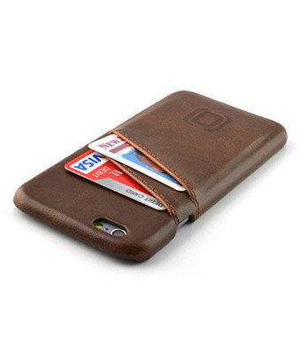 iPhone 6 Card Case by Dockem- Vintage Synthetic Leather Wallet Case, Ultra Slim Professional Executive Snap On Cover with 2 Card Holder Slots, Brown
