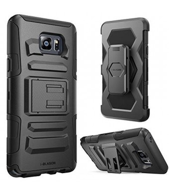 Galaxy Note 5 Case, i-Blason Prime Series Dual Layer Holster For Samsung Galaxy Note 5 with Kickstand and Locking Belt Swivel Clip (Black)