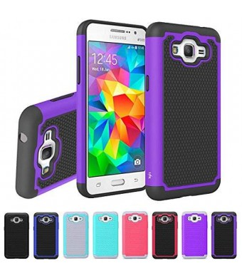 Grand Prime Case, LK [Shock Absorption] Hybrid Dual Layer Armor Defender Protective Case Cover for Samsung Galaxy Grand Prime (Purple)