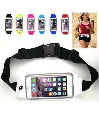 uFashion3C Universal Running Waist Belt for iPhone 6/6S,6/6S Plus,Galaxy S5,S6,Note 4/5 w/ OtterBox/LifeProof Cases (White)