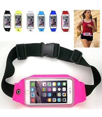 uFashion3C Universal Running Waist Belt for iPhone 6/6S,6/6S Plus,Galaxy S5,S6,Note 4/5 w/ OtterBox/LifeProof Cases (Pink)