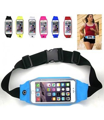 uFashion3C Universal Running Waist Belt for iPhone 6/6S,6/6S Plus,Galaxy S5,S6,Note 4/5 w/ OtterBox/LifeProof Cases (Sky Blue)