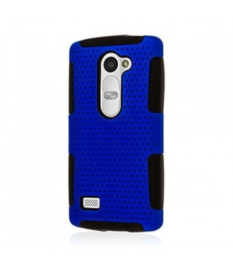 EMPIRE LG Leon / Tribute 2 Case - Blue, MPERO FUSION M Dual Layered Silicone Polycarbonate Soft Non Slip Textured Mesh Case for Leon / Tribute 2