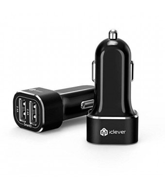iClever Intelligent 2-Port 4.8A 24W USB Car Charger with SmartID Technology, Black