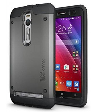 TUDIA Tough OMNIX [Heavy Duty] Hybrid Full-body Protective Case with Front Cover and Built-in Screen Protector for ASUS ZenFone 2 ZE550ML