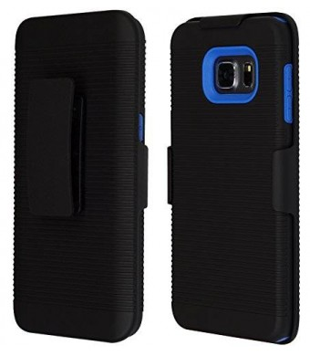 S6 Edge Plus Case Belt Clip Holster, Xtreme Drop Protection, Heavy Duty, 3 Layers Holster Case with Swivel Belt Clip and Kickstand Feature (Blue)