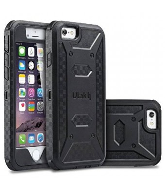 ULAK [KNOX ARMOR] iPhone 6S/6 Case, Dual Layer Shockproof Bumper with Bulid-In Screen Protector (Black)