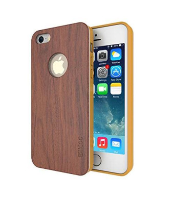 iPhone 5s Case, Slicoo Nature Series Bamboo Wood Slim Covering Case for iPhone 5 5s (Rose Wood)