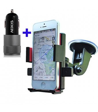 Car Mount,AEDILYS Windshield Dashboard Car Mount Holder for iPhone 6 / 5s/ 5c/4s,Samsung Galaxy S4/S3//S2. HTC One ,Amazon Fire phone
