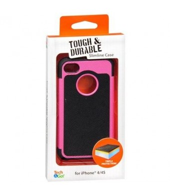 Tech * Go! Tech and Go! Tough and Durable Slimline Case for iPhone 4 / 4S (Black and Pink)